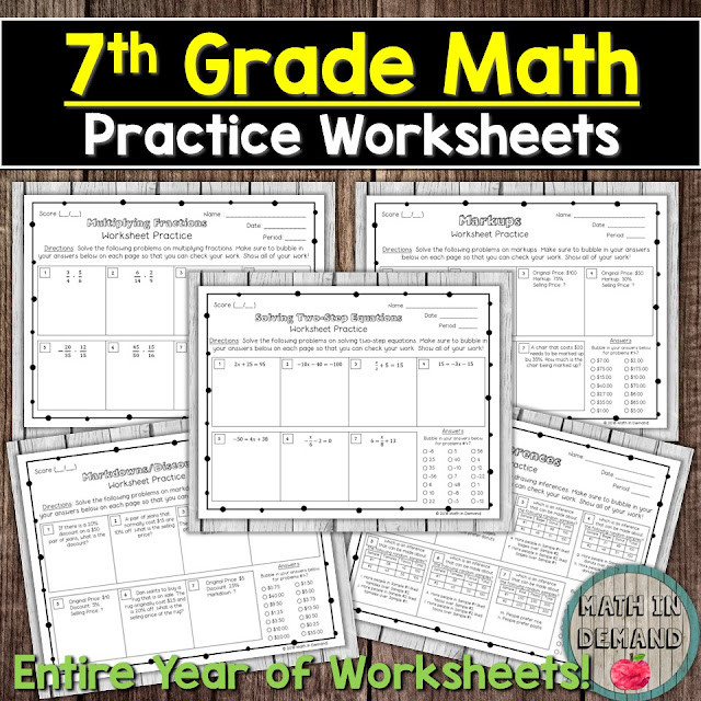 7th Grade Math Practice Worksheets