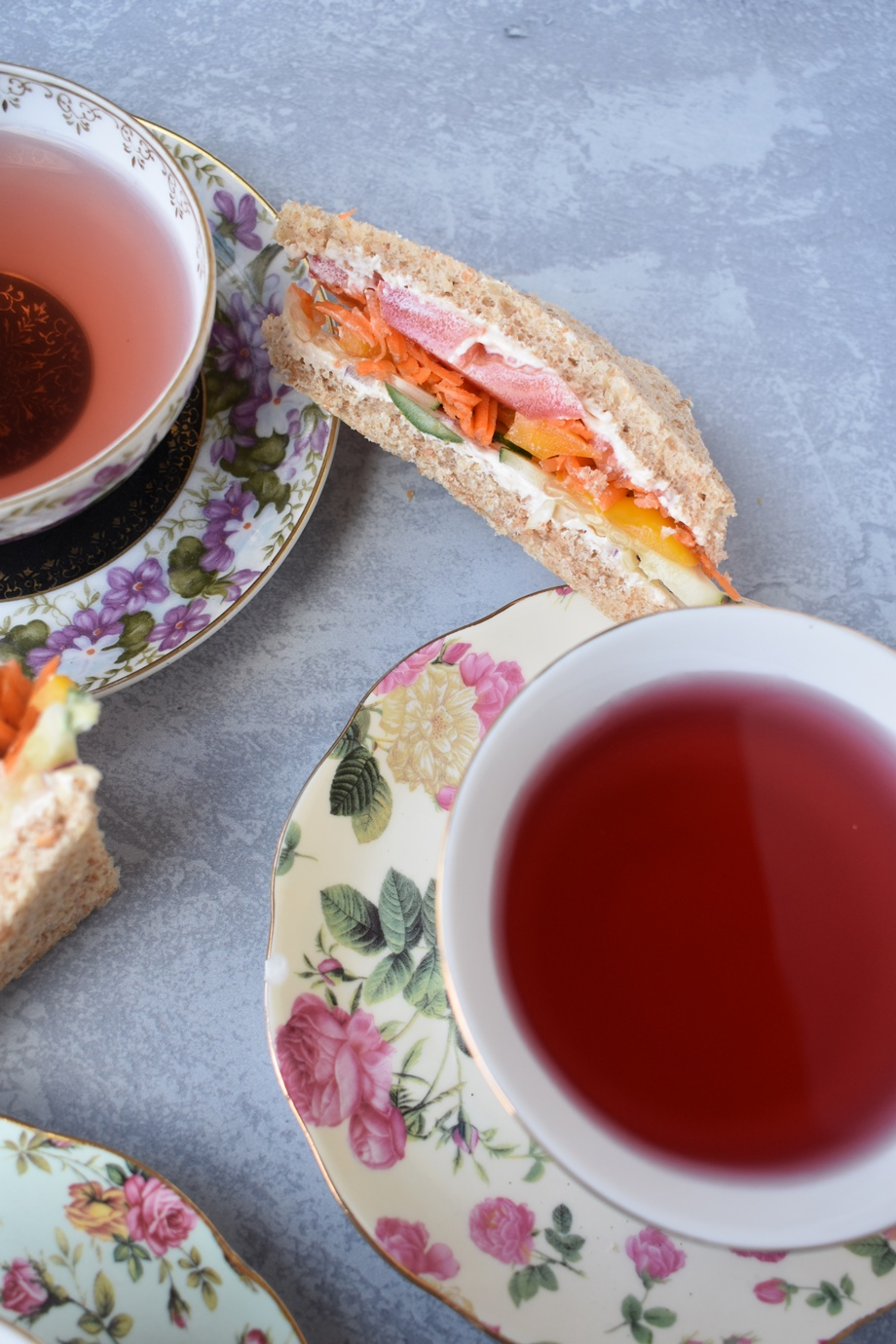 tea and veggie sandwiches