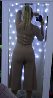 back view of ribbed jumpsuit