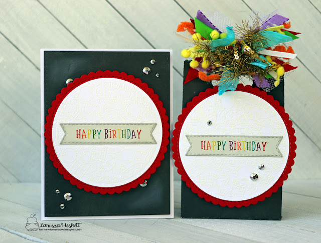 Happy Birthday Card & Gift Bag by Larissa Heskett for Newton's Nook Designs using Birthday Roundabout Stamp Set, Circle Frames Die Set and Banner Trio Die Set #newtonsnook #newtonsnookdesigns #birthdayroundabout #circleframes #bannertrio #wowembossing #distressmarkers