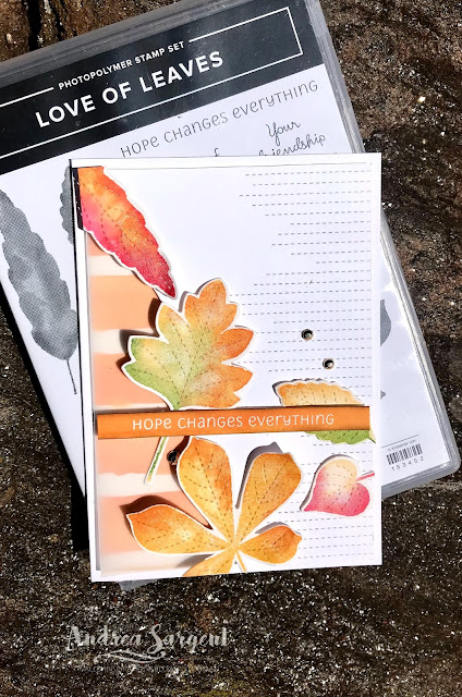 Autumn leaves float across the card to showcase Stampin' Up!'s Pumpkin Pie and Love of Leaves, created by Andrea Sargent, Valley Inspirations, Australia