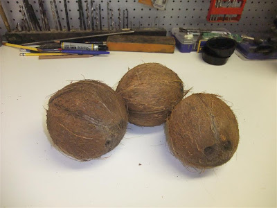 how to drain coconut juice, milk, drill out coconuts