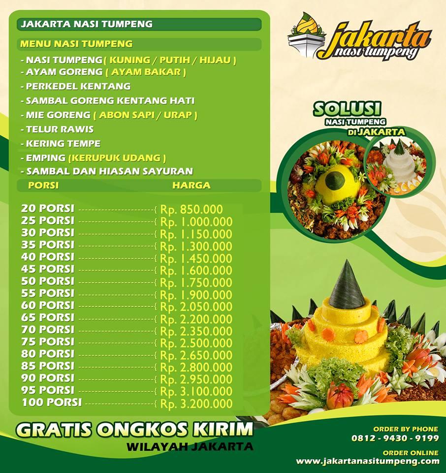 Daftar harga nasi tumpeng Jakarta Timur