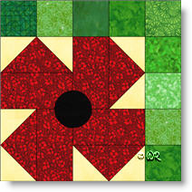 Poppy quilt block image © W. Russell, patchworksquare.com
