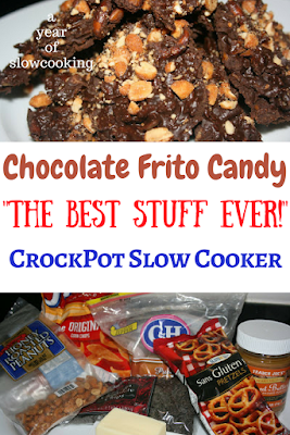 This is exactly what you are craving! A perfect mix of sweet and salty -- chocolate frito candy made super easy in the crockpot slow cooker. Gluten free and delicious summer time candy brittle!
