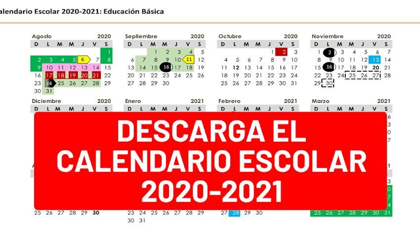 DESCARGA el Calendario Escolar 2020-2021 (excelente calidad de imagen)