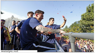 messi with FC Barcelona La Liga Trophy Celebration Parade