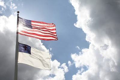 American flag and Christian flag