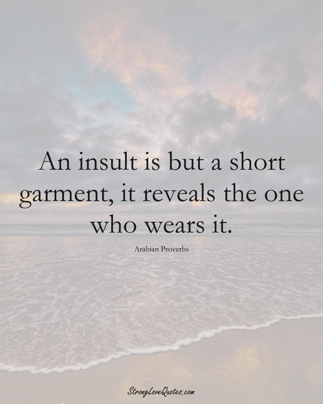 An insult is but a short garment, it reveals the one who wears it. (Arabian Sayings);  #aVarietyofCulturesSayings