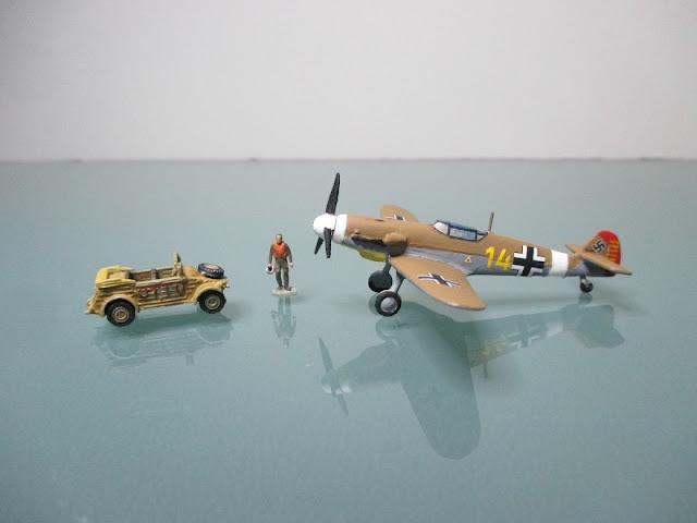 1/144 Messerschmitt Bf 109 Marseille Kubelwagen diecast metal aircraft miniature