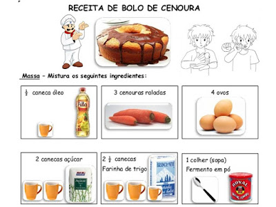 preparar a receita de bolo de cenoura em LIBRAS