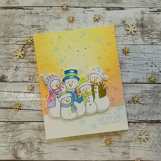 Snowman Card by Naki Rager | Frosty Folks Stamp Set by Newton's Nook Designs #newtonsnook #handmade