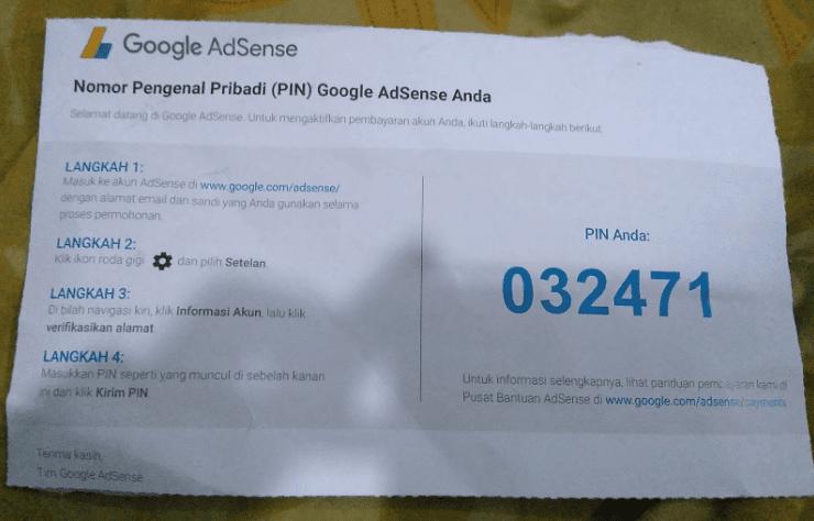Contoh paket surat PIN adsense