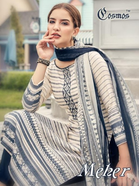 Cosmos Meher Lawn Embroidered Dress material