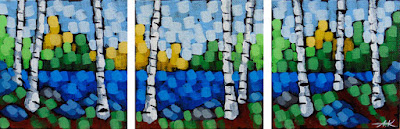 landscape of summer triptych painting of birch trees at a lake by artist aaron kloss, birch tree painting, pointillism painting, duluth mn painter