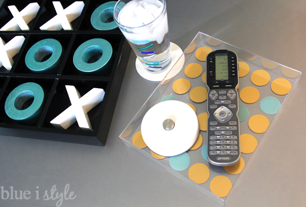 DIY gold polka dot acrylic tray for remotes and coasters