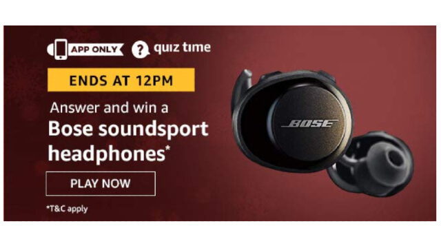 Amazon Quiz Answers Today 18 January win - Bose sound sport Headphones