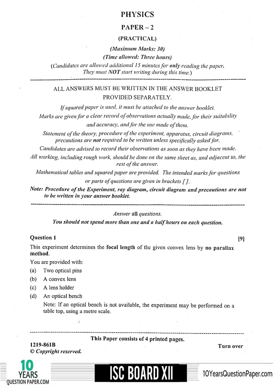 ISC 2019 Physics Practical Question Paper