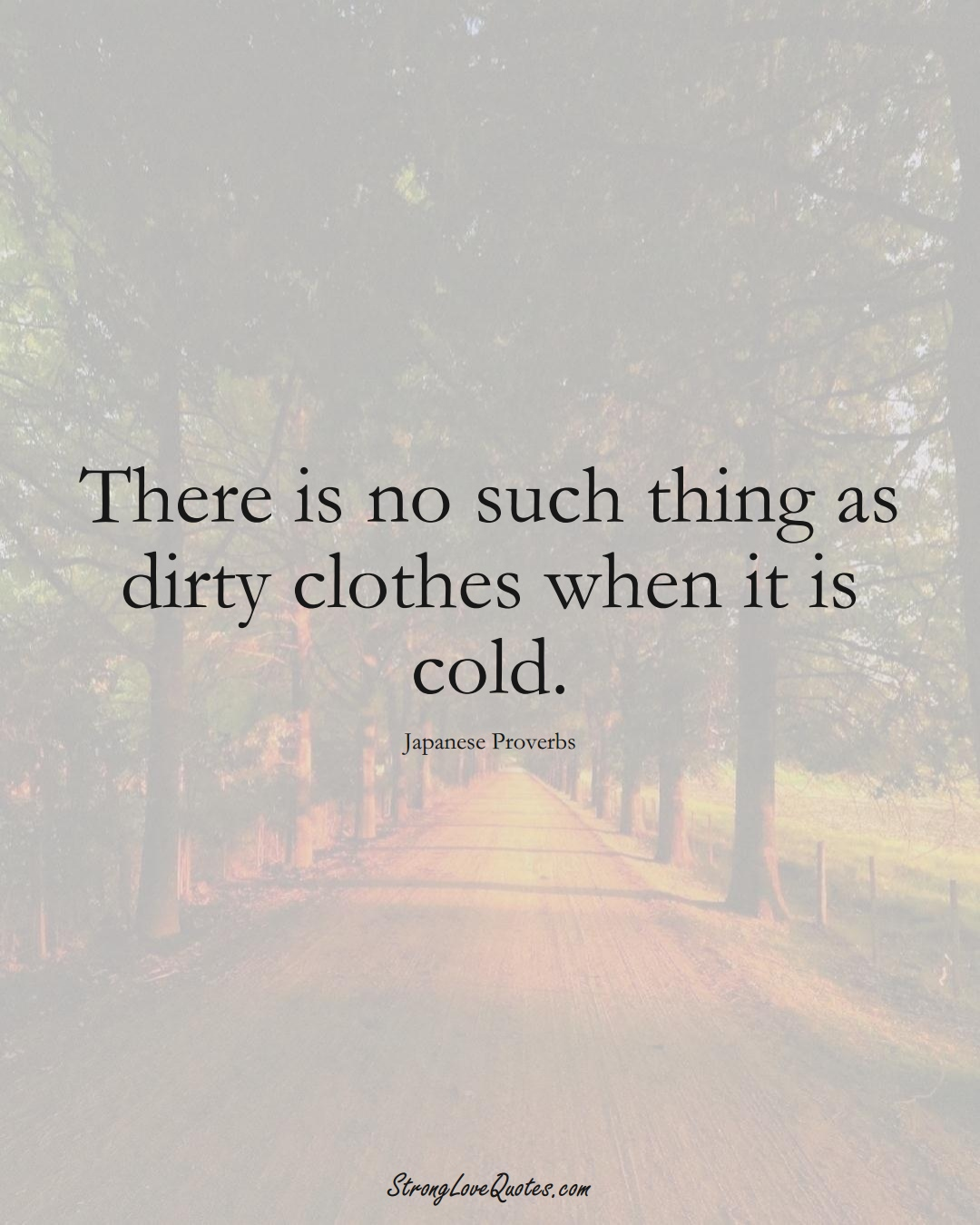 There is no such thing as dirty clothes when it is cold. (Japanese Sayings);  #AsianSayings