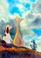 Postikorttikuvitus, missä Hulmu Hukka ja Haukku Koira istuvat kivellä ja katsovat pilviä. Postcard illustration of Hulmu and Haukku dog looking clouds