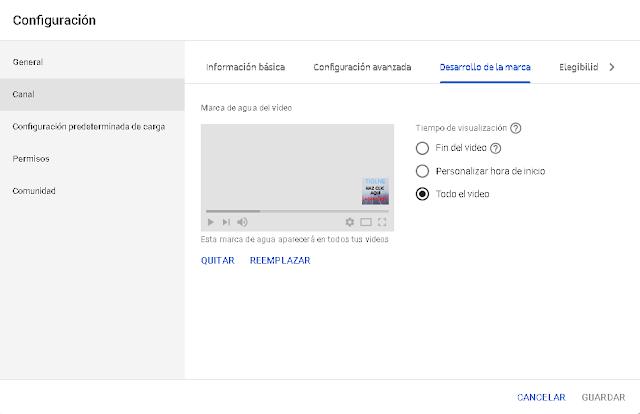 para colocar una marca de agua para que las personas te suscriban en tu canal solo debes crearla y en la opcion configuracion podras colocar la marca de agua y seleccionar el tiempo en que se ve en el vídeo