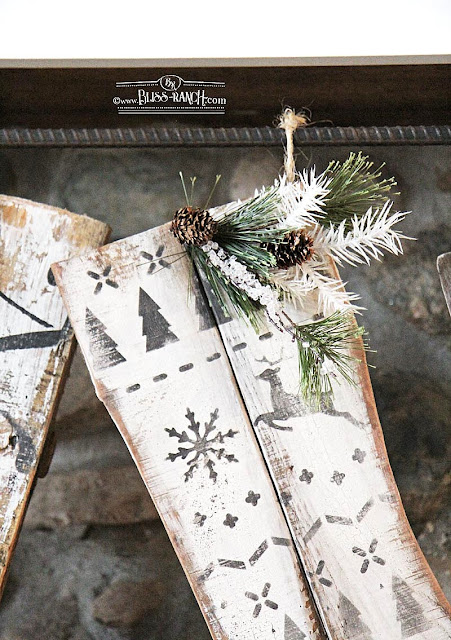 Stenciled Wood Christmas Stockings Bliss-Ranch.com