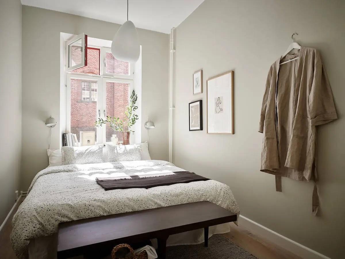 Dormitorio pintado de verde