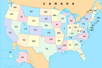 USA political map with abbreviated state names