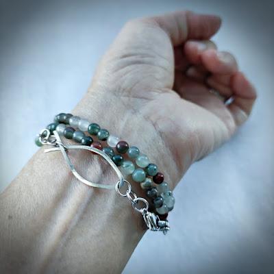 Beaded face mask cum eyeglasses strap as layered bracelet