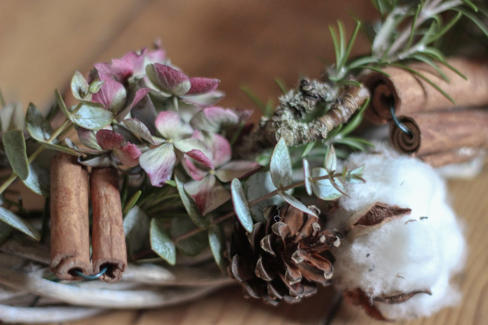 A seasonal hydrangea christmas wreath