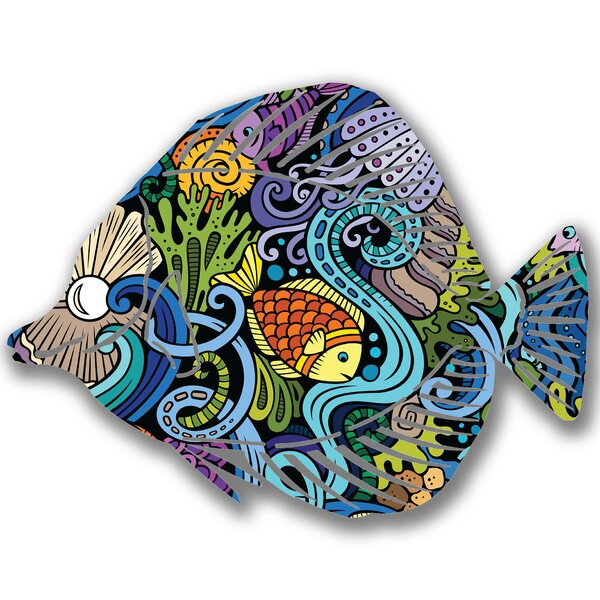 Steel Seascape Angel Fish 3D Wall Decor