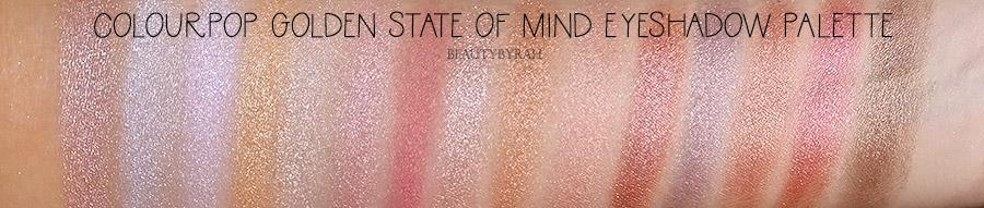 Colourpop Golden State of Mind eyeshadow palette swatches