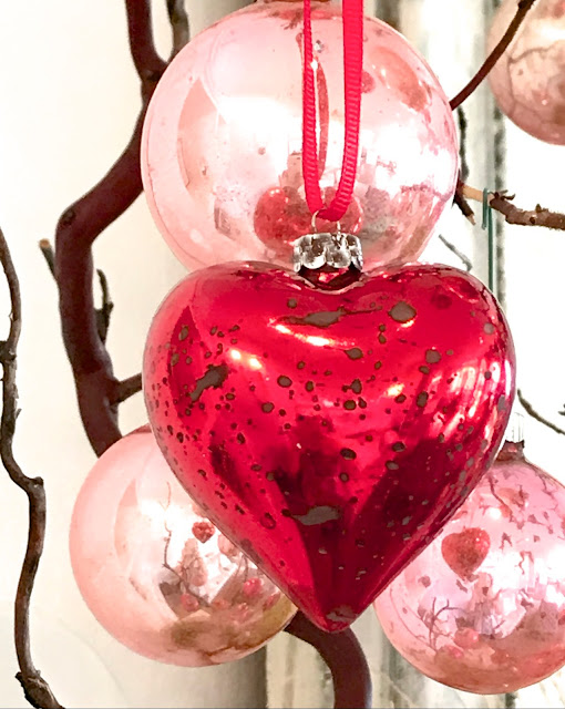Valentine's Day Home Decor; Nora's Nest, pink antique ornaments, DIY antique red heart ornaments
