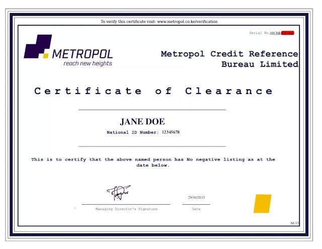 Metropol CRB Clearance Certificate