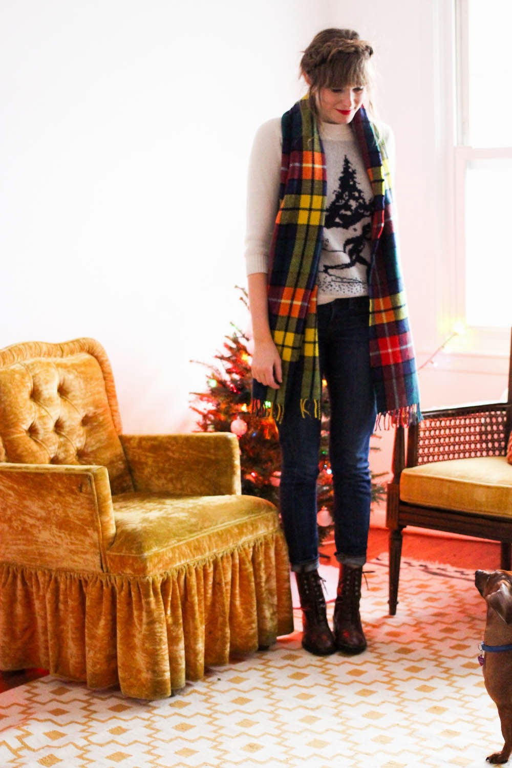 vintage fashion blog, holiday outfits, nyc vintage blog, plaid pinafore