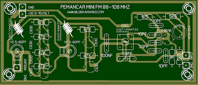 skema pemancar fm mini Dan layout PCB Komplit