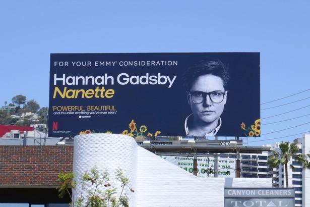 Hannah Gadsby Nanette Emmy FYC billboard