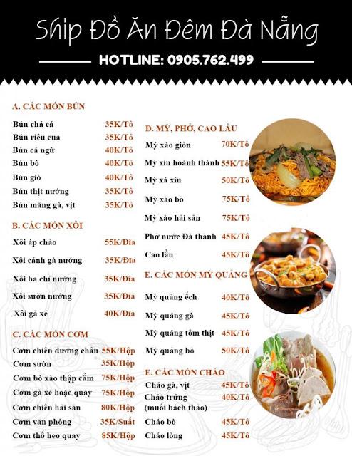 Menu dịch vụ ship đồ ăn đêm Đà Nẵng 2020