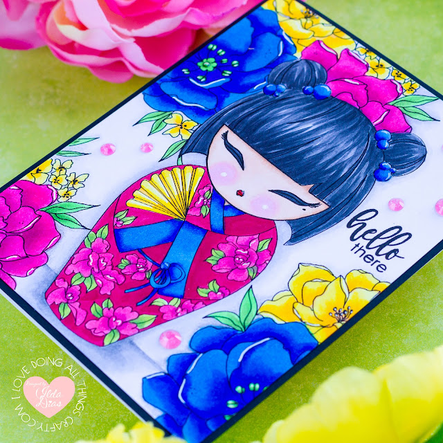 AlexSyberiaDesign May Digi Stamp Release Blog Hop + Giveaway | Kokeshi Doll Friendship Cards