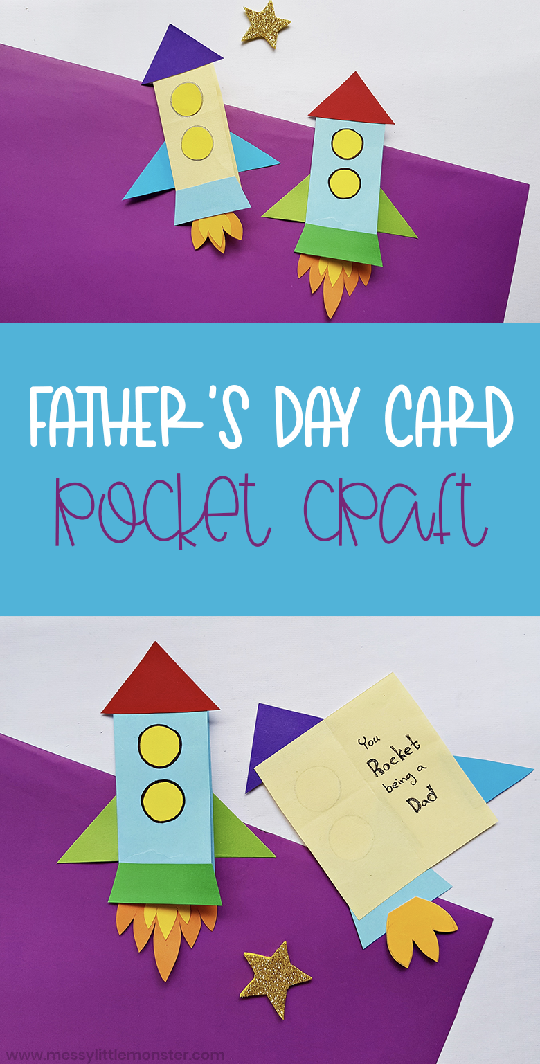 Handmade Father's Day card. An easy rocket craft for kids. Father's day crafts with free template.