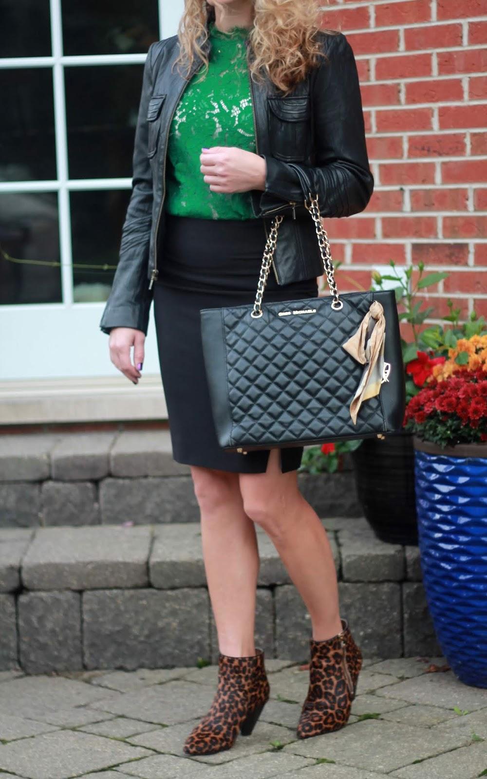 black moto jacket, black pencil skirt, green lace blouse, leopard booties