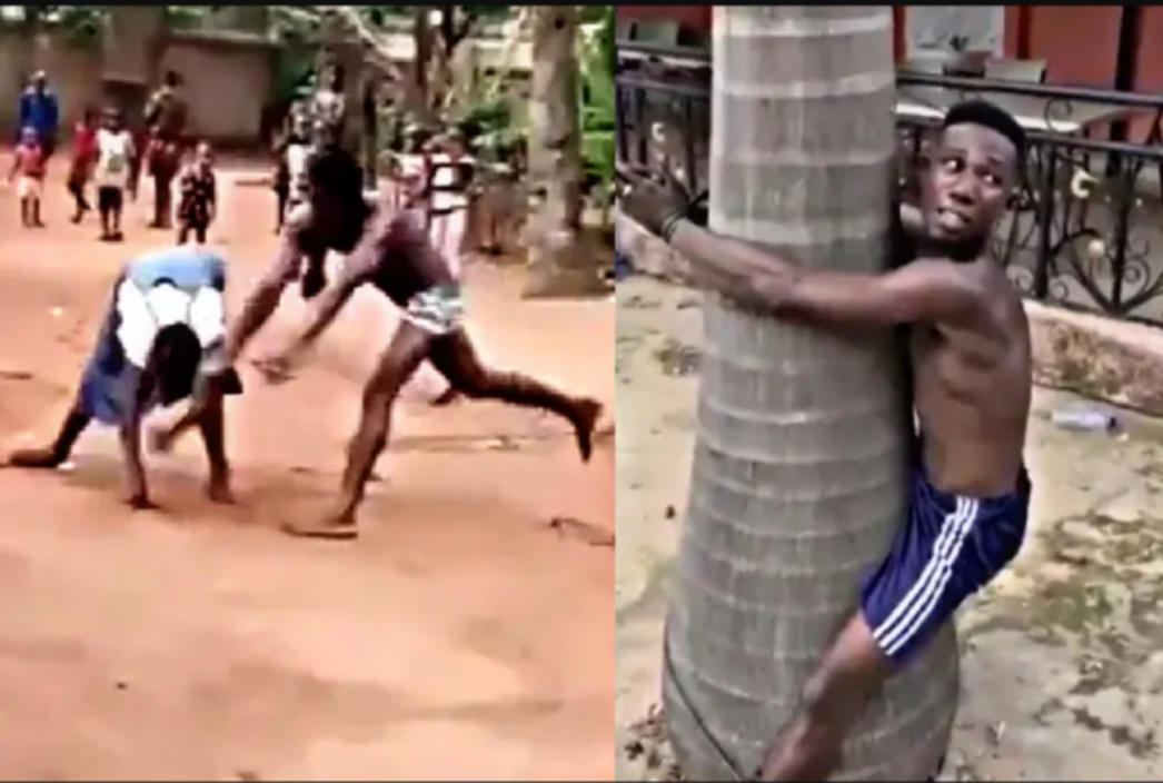 VIDEO & PHOTOS: A Man Beats His Mother Publicly, Check Out What Youths Did To Him