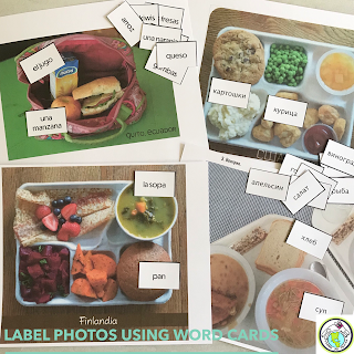 Label photos of lunches around the world with the target language