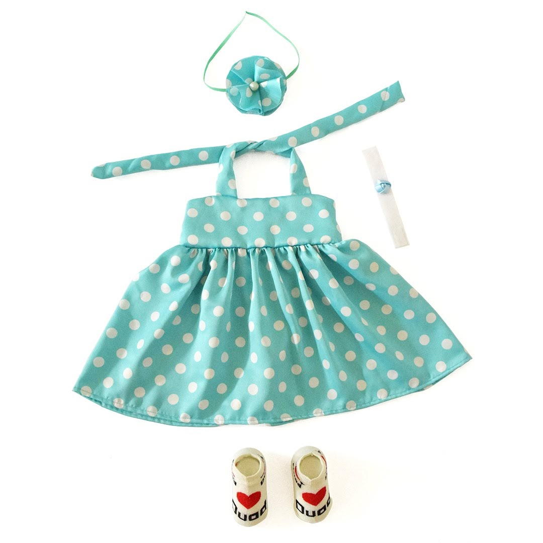 Baju Bayi Perempuan Baby Malika Dress Dior Polka Mint Kaos
