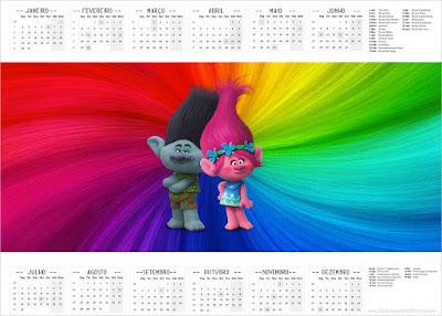 Calendario 2017 para imprimir gratis de Trolls.