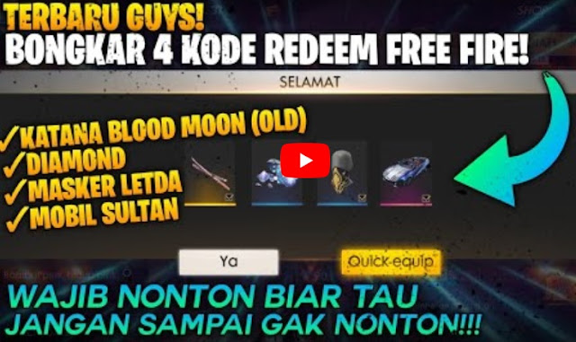 Kode Redeem Free Fire Agustus 2020: Katana, Diamond, Masker Letda dan Mobil Sultan