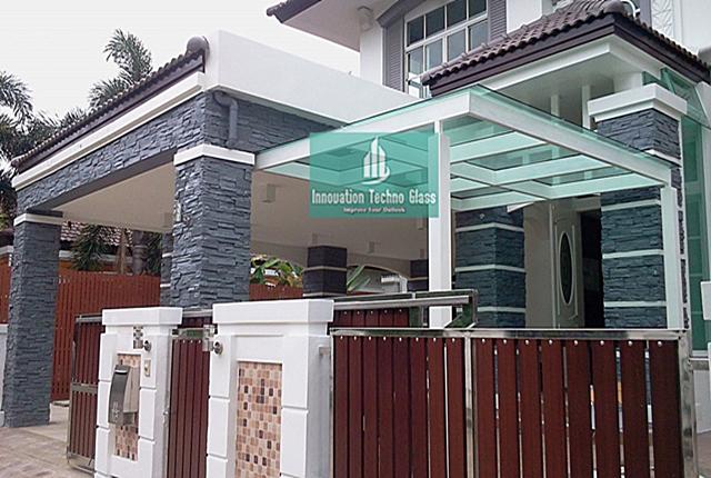 Kanopi Kaca Tempered Desain Eksterior Bangunan Modern ...