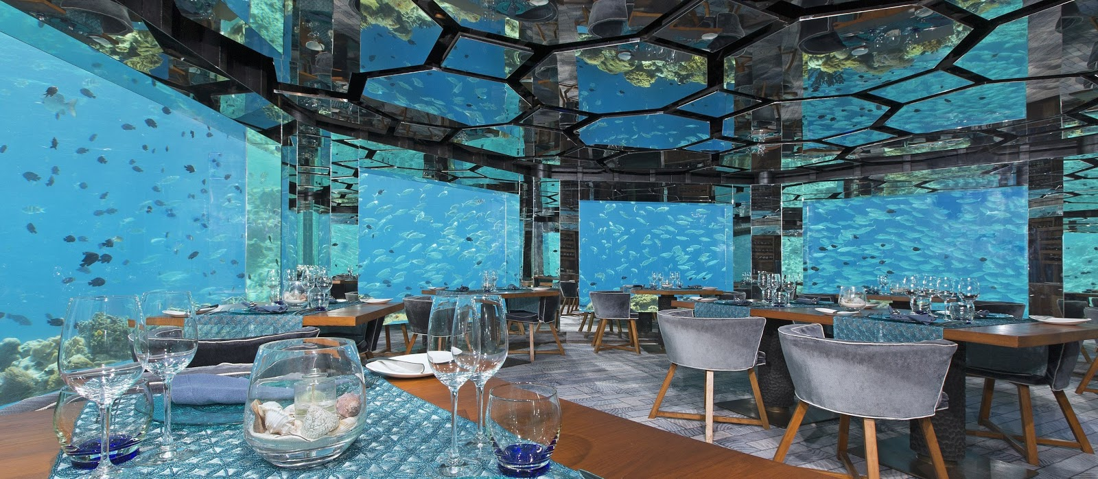 Underwater restaurants in maldives lalumi travels for Maldivas hotel bajo el agua