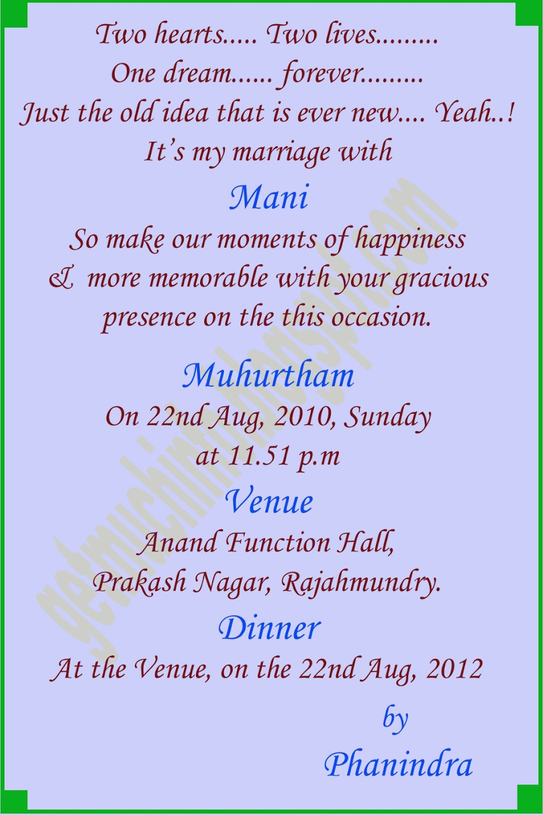 format of hindu marriage invitation card in english get much information