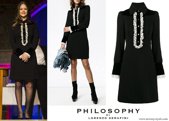 Princess Sofia wore PHILOSOPHY DI LORENZO SERAFINI Lace-Trimmed Long Sleeve Dress